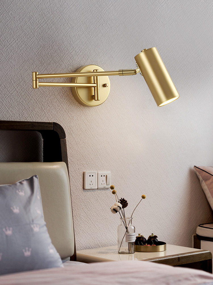 Nordic Industrial Foldable Telescopic Swing Arm Wall Lamp Iron Art Gold Black Metal Wall Sconce Light Fixtures Study Studio Cafe