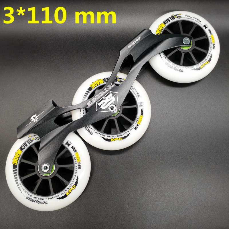 Free Shipping Speed Skates Frame 3x110 With Wheels Bearing Abec-9