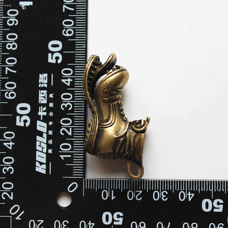 Stil açılış bölünmüş ağız büyük botlar anahtarlıklar kolye Vintage bakır Metal deri ayakkabı anahtarlık araba anahtarlık çanta askısı