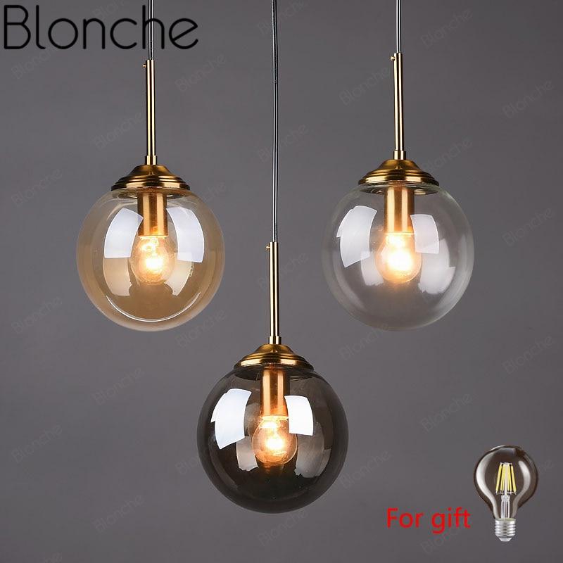 Modern Glass Ball Pendant Lights Gold Hanging Lamp Home Loft Decor Fixtures For Cafe Dining Room Kitchen Bedroom E27 Lighting