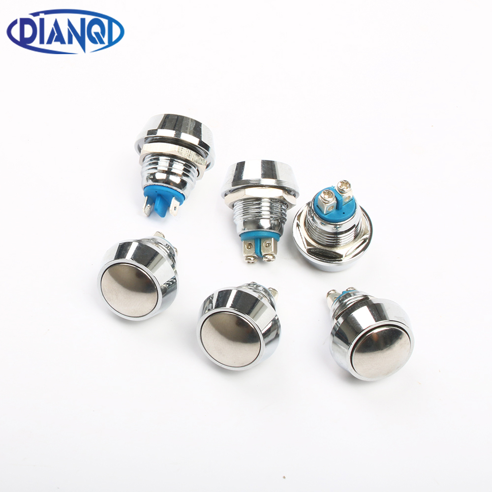 12mm Metal Push Botton Waterproof Nickel Plated Brass Domed Push Button Switch 1NO Momentary Reset Screw Terminal Pin Terminal