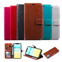 Flip Case Leather for iPhone 11 Pro X XS MAX XR 6 6S 7 8 Plus 5 5S Wallet Cover Book Shell Phone Purse With Card Slots 3 card slots wallet crazy horse leather mobile case for iphone 7 plus 5 5 brown