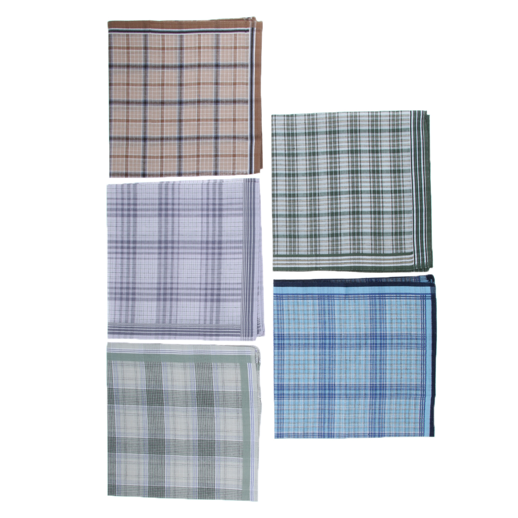 5Pack Men's Plaid Pattern Cotton Handkerchiefs Classic Pocket Square Hanky