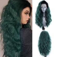 Charyzma długie faliste peruka Ombre zielony syntetyczna koronka peruka Front z czarnym korzenie włókno termoodporne włosy Cosplay peruki dla kobiet