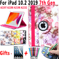 Вращающийся чехол с цветами для iPad 10 2 2019 7-го поколения A2197 A2200 A2198 A2232 смарт-чехол для сна для iPad 10 2 + пленка + ручка