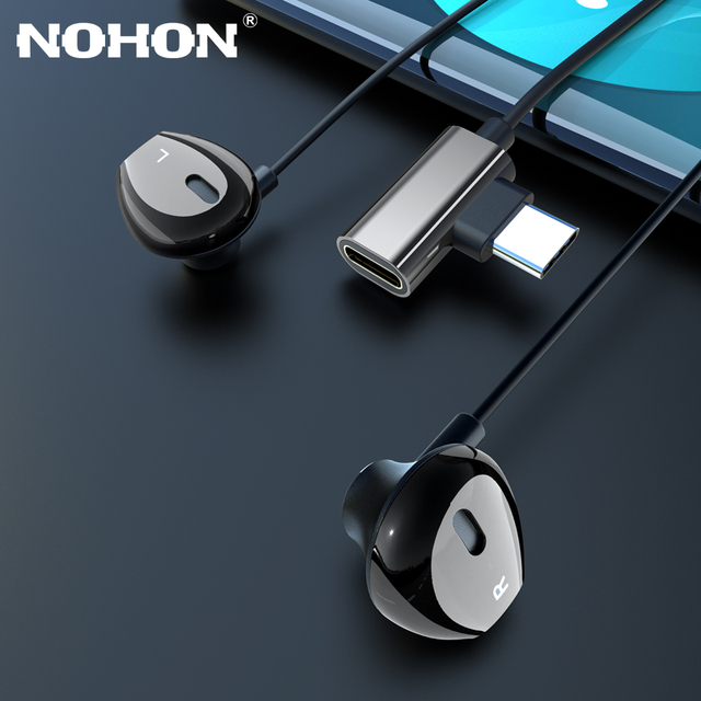 Type C 2 in 1 Earphones Magnet Earbuds Super Bass Charge Adapter Type C for Samsung S9 S10 Xiaomi 8 9 Phone Stereo Sport Headset