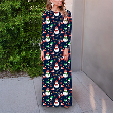 Christmas Dress Women Floral Printed Long Sleeve Plus Size Dress Loose Maxi Dress Party Dress все цены