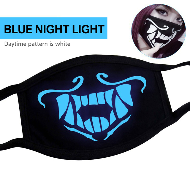Fashion Black Face Mask kpop Reusable Cotton Glow At Night Multiple Facial Masks For Men Cool Hip Hop Mask For Germ Protection 1