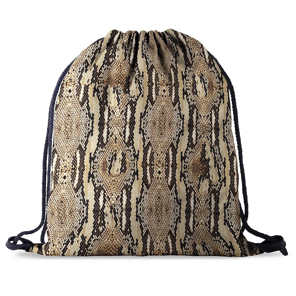 Bundle Pocket Rope  Bag Printing Snake Skin Pattern Drawstring Backpack Women Men Daily Casual Girl's Mochila Knapsack Feminina