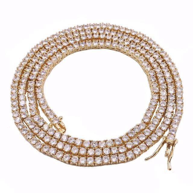 3mm Brass cz aaa cubic zircon tennis link chain hiphop 1 row necklace for men and women gift rapper bracelets golden
