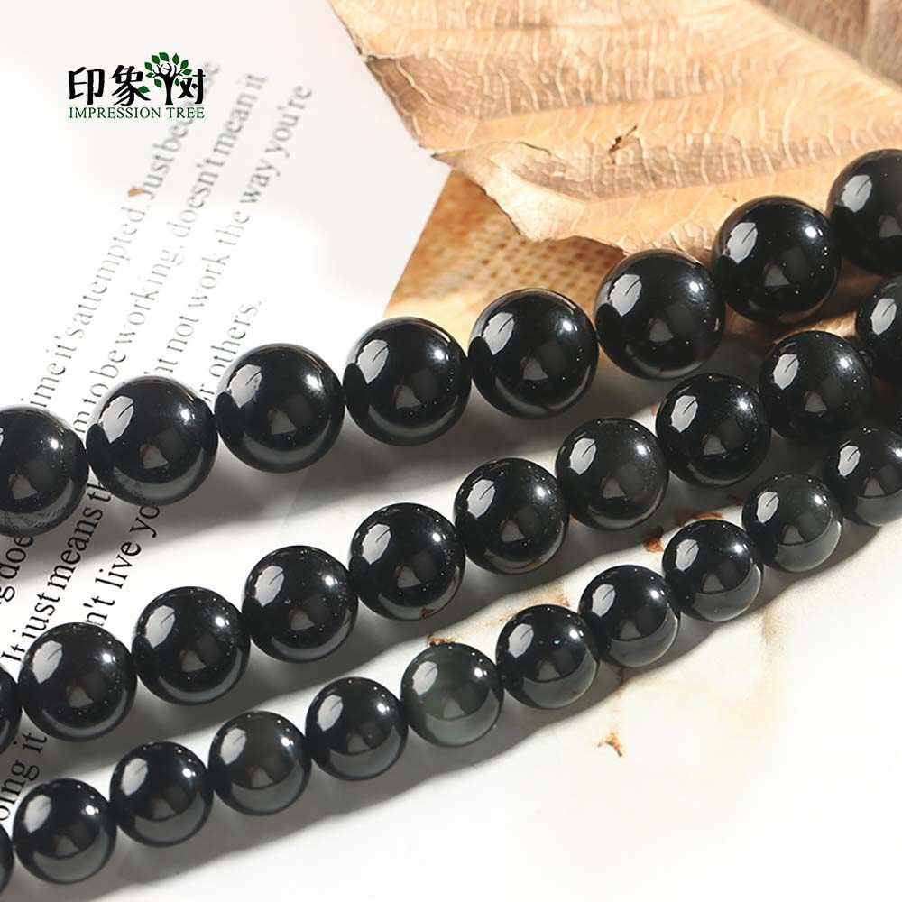 1 Máy Tính Tự Nhiên Tròn Đen Obsidian Hạt Mịn Đen Đính Hạt Tròn 6 8 10 12 14 Mm Cho DIY Trang Sức làm Vòng Tay Vòng Cổ 1890
