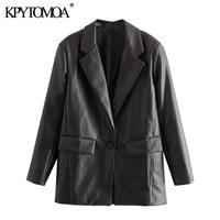 KPYTOMOA Frauen 2021 Mode Faux Leder Taschen Lose Blazer Mantel Vintage Langarm Zurück Vents Weibliche Oberbekleidung Chic Tops