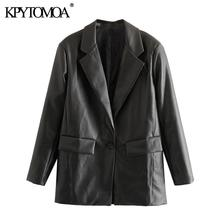 معطف نسائي فضفاض بجيوب من الجلد الصناعي موضة 2021 من KPYTOMOA جاكيت عتيق بأكمام طويلة وفتحات من الخلف ملابس خارجية نسائية أنيقة