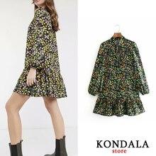 Mini Dress Vestidos Long-Sleeve Floral-Print KONDALA Ruffles Vintage Loose Bow-Tie Sylish