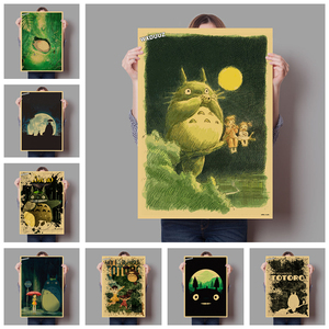 Anime poster home and bar decoration for Hayao Miyazaki on vintage My Neighbor Totoro Kids Room posters canvas painting M603(China)