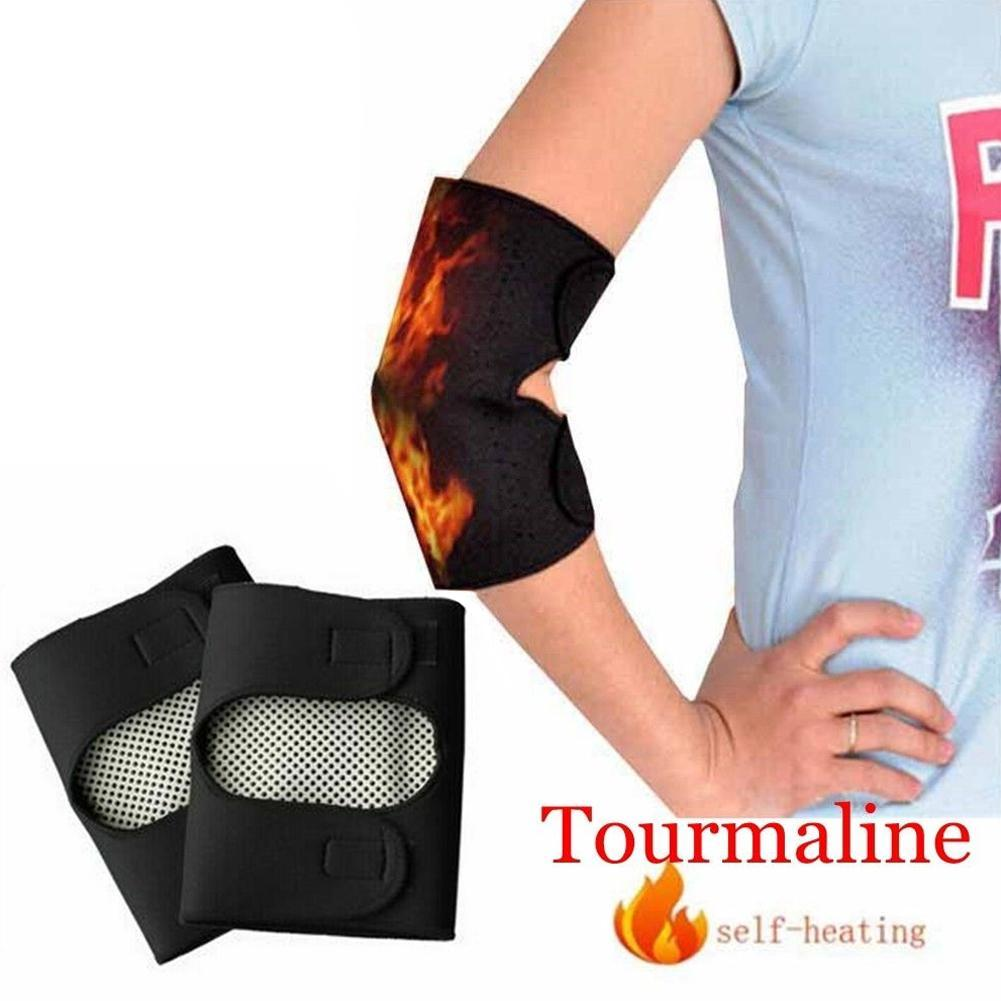 2pcs Tourmaline Self Heating Elbow Pads Magnetic Therapy Kneepad Pain Relief Arthritis Brace Support Patella Elbow Sleeves Pads