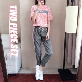 Two piece set 2020 Summer pink outfit Cotton Fashion Loose pink outfits womens outfits tracksuit for women two 2 piece set pink golden shiny strappy two piece outfits
