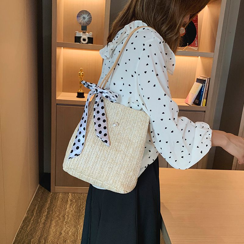 Ocean-style One Shoulder Straw-woven Summer Small Square Bag Drawstring Bags Women Fashion Bags