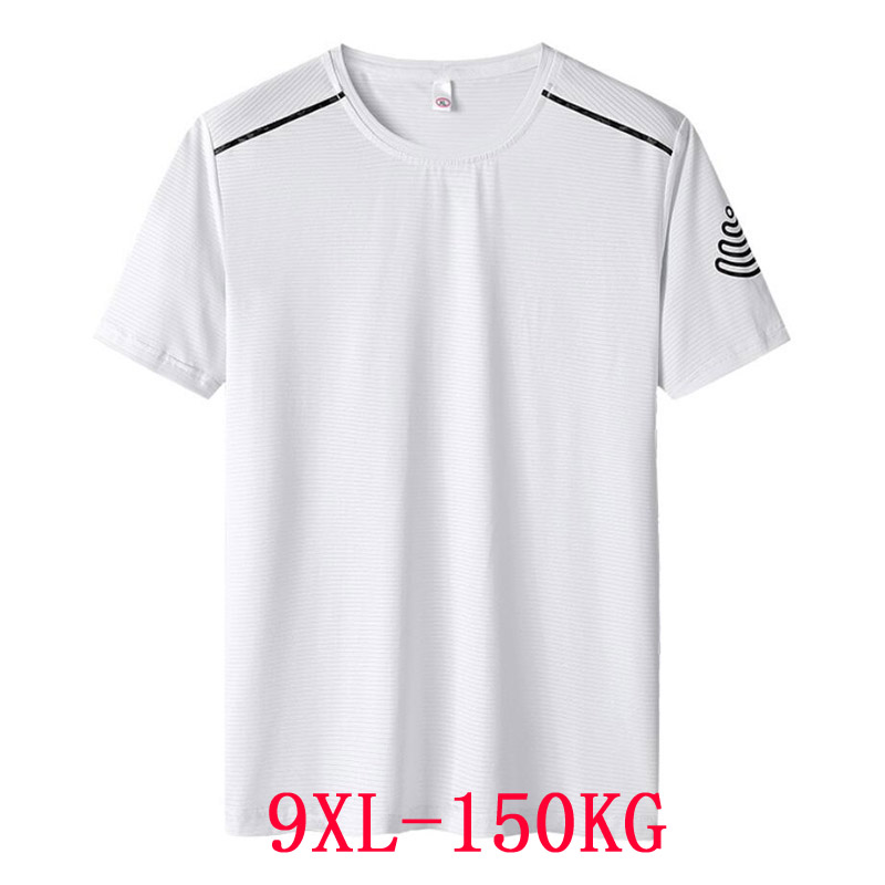 summer Men <font><b>t</b></font>-<font><b>shirts</b></font> quick dry sports tees Breathable plus size big 7XL <font><b>8XL</b></font> 9XL oversize tshirt elasticity tops loose white blue image