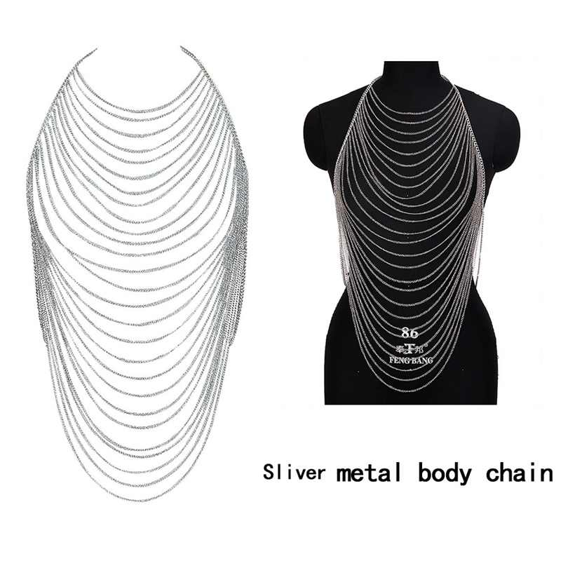 Metal Chain Crystal Sexy Bra Harness Multi-layer Body Chain Women Choker Necklace Bikini Beach Goth Rave Jewelry Gold Silver