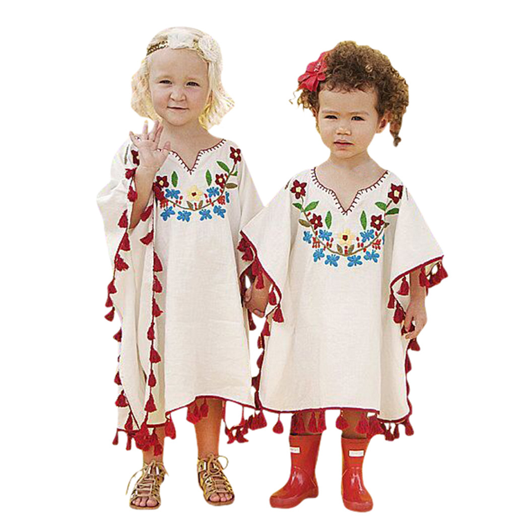 Outfits Flower Toddler Baby-Girls Kids Fashion Tassel Kaftan Beach Linen Kimono Cover-Up