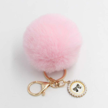 Fashion bow Nameplate Fluffy Pompon Keychains Fake hair ball Keyring Car Key chain women hadBag Pendant Jewelry Beautiful Gifts