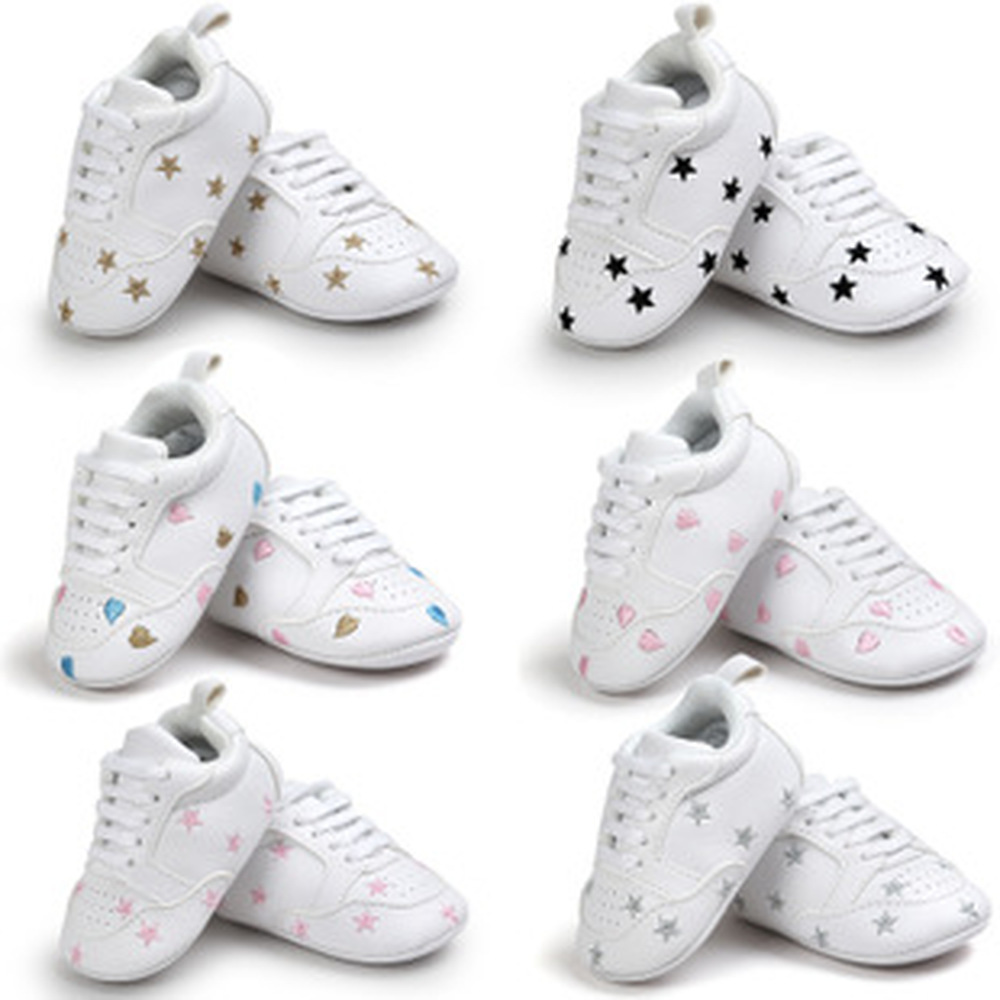 Baby Shoes Boy Girl Solid PU Star Heart Sneaker White Shoes New Style Newborn Infant First Walkers Casual Crib Moccasins