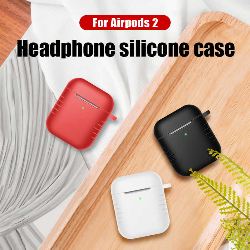 Shockproof Silicone Cover Cases For Apple Airpods Waterproof Box For Airpods 2 Case For Air Pods 2 Plain Earhone Cases Airpods2