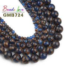 Natural Blue Cloisonne Stone Round Loose Beads For Jewelry Making 6 8 10 mm Pick Size 15inches DIY Jewellery Bracelet Wholesale(China)
