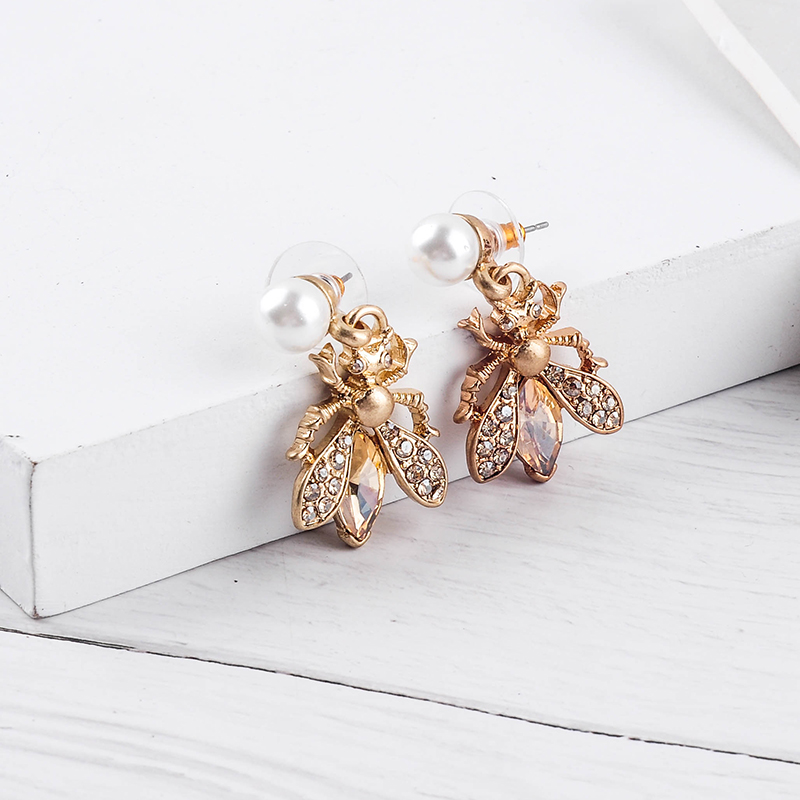 H7aa924d7a73b47a69f17f4d381d8c9d7A - Bohemia Handmade Crystal 2 Color Insect Drop Earring For Women Wholesale Jewelry Free Shipping