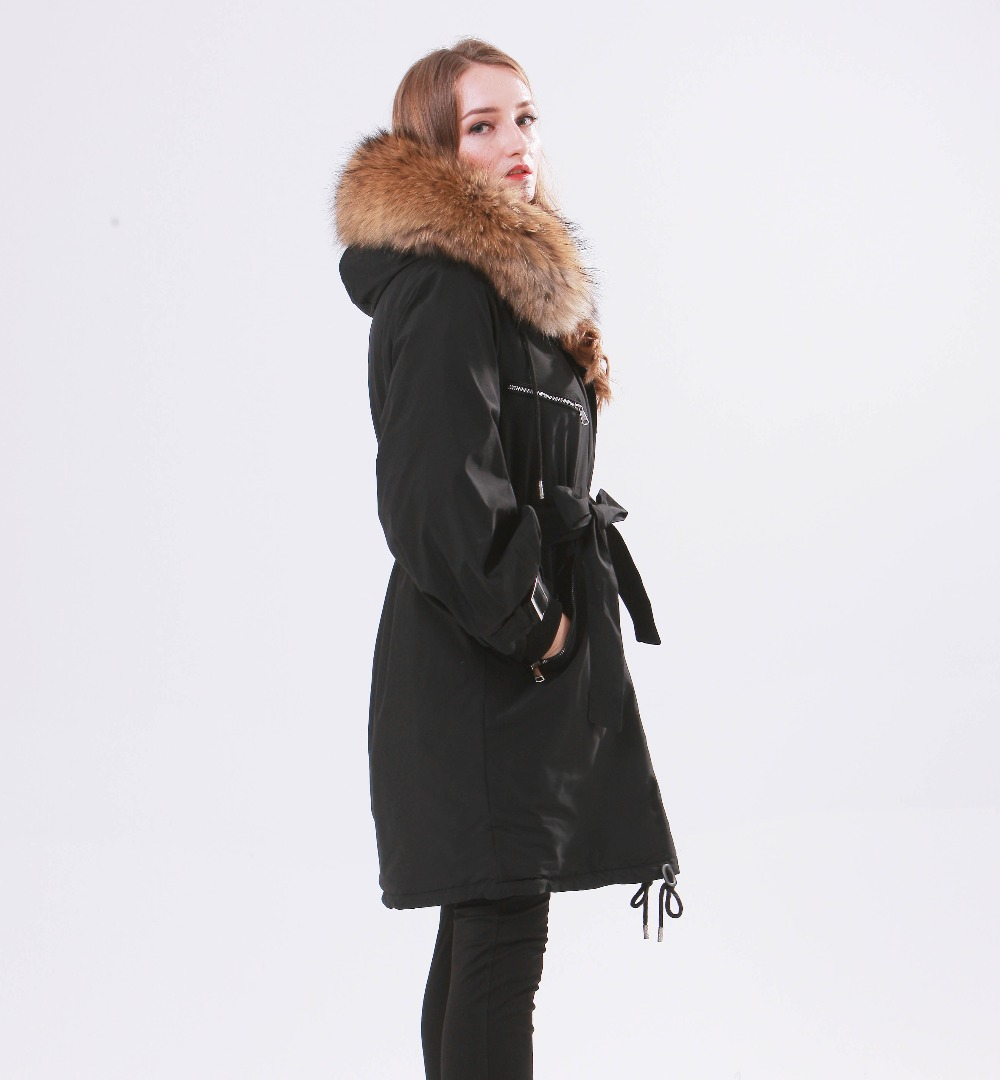 Large Natural Raccoon Fur Winter Jacket Women Hooded 19 Long Parkas For Female Thick Slim Down Winter Coat Women Waterproof 9