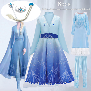 Elsa Dress Kids Costume For Anna Toddelr Girls Clothes Carnival Child Girl Princess Dress Snow Queen Children Clothing 3-12 Year(China)
