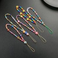 2021 nuovo cordino per cellulare cordino colorato sorriso perla corda in ceramica morbida per custodia per cellulare cavo per appendere le donne