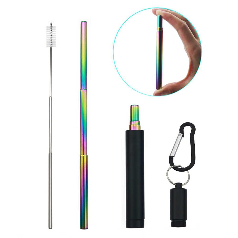 Inklapbare Draagbare Rietje 304 Roestvrij Staal Stro Set Telescopische Travel Metal Herbruikbare Stro Met Case Cleaner Brush