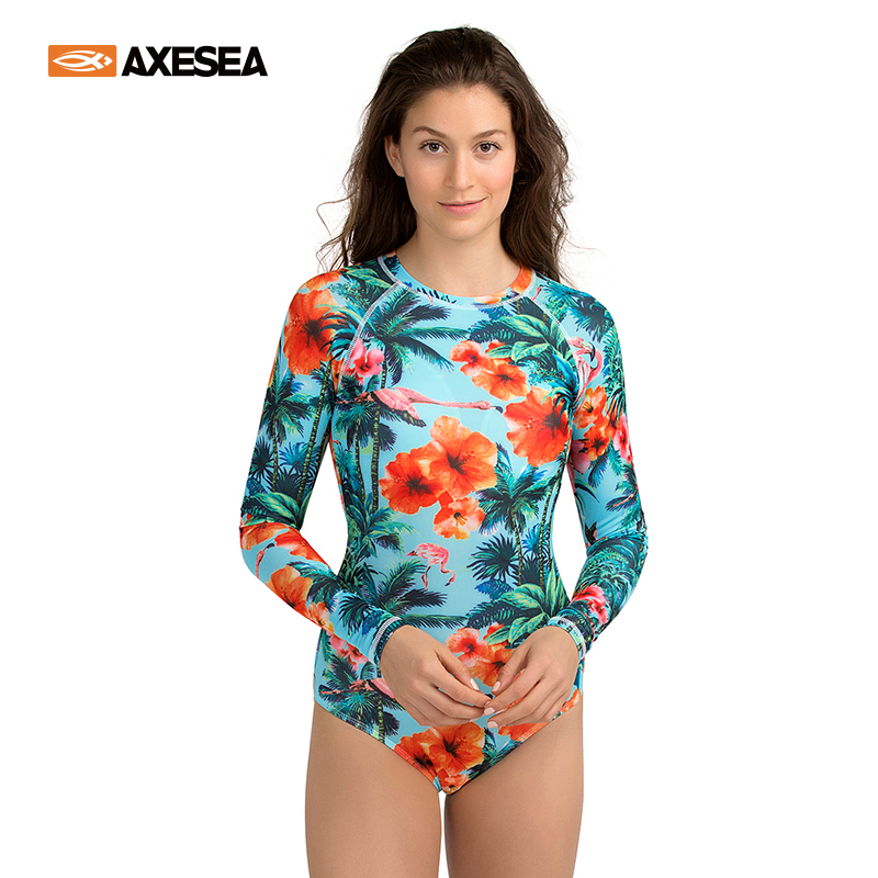 AXESEA Women Rash Guard One Piece Swimsuit Long Sleeve Swimwear Diving UPF50+ Print Floral Flamingo Back Zipper Surf Rashguard