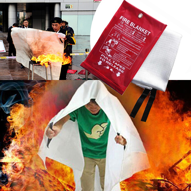 Sealed Fire Blanket Home Safety Fighting Fire Extinguishers Tent Boat Emergency Survival Fire Shelter Safety Cover 1M X 1M
