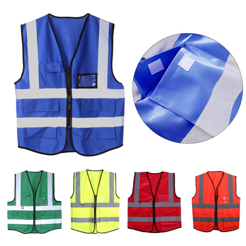 Hi-Vis Safety Vest With Zipper Reflective Jacket Security Waistcoat 5 Pockets