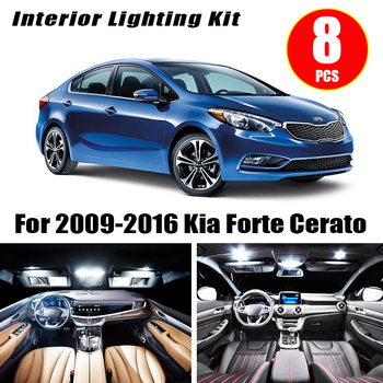 8pcs Car Accessories White Interior LED Light Bulbs Package Kit For 2009-2016 Kia Forte Cerato T10 31MM 39MM Map Dome Trunk Lamp