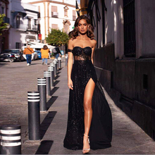 Black Long Party Dress Gown Hollow Out Off the shoulder Split Side Strapless Backless Maxi