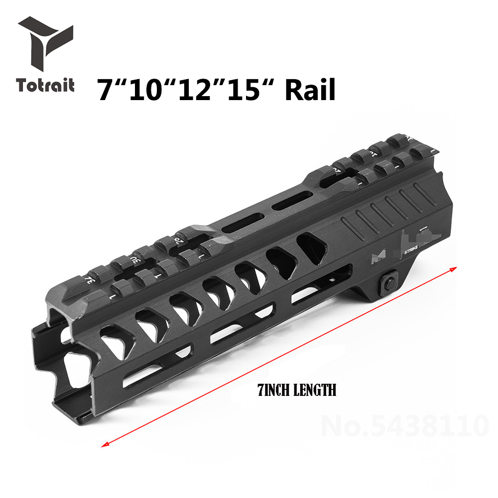 Rail 7/10/12/13.5/15 Inches Tactical Float Keymod Handguard Picatinny Rail Square Mouth with Steel Barrel Nut for AR Series Gun image