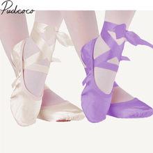 Chaussures de Ballet à bandes pour enfants, chaussures de danse de Ballet en toile rose violet abricot et rouge, semelle en daim fendue, 2019