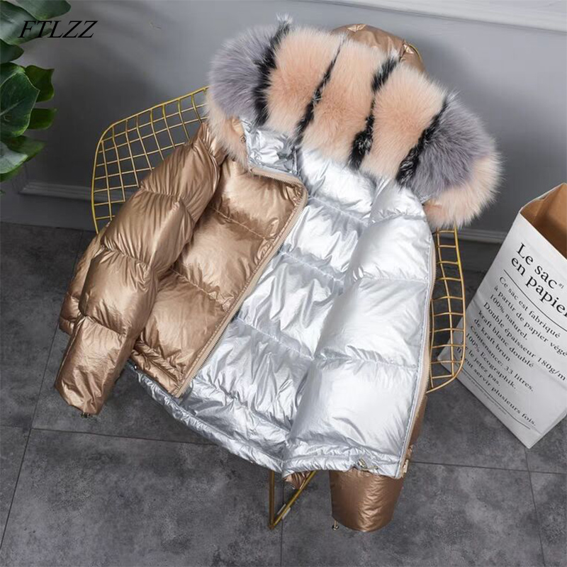 FTLZZ New Gold Silver Double Side Down Coat Winter Jacket Women Big Aritificial Fur White Duck Down Parkas Female Down Outerwear