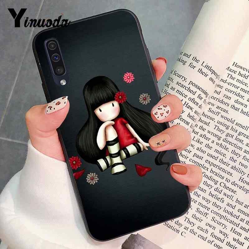 Yinuoda لطيف التوضيح فتاة أسود بولي يوريثان سيليكون PhoneCase غطاء لسامسونج A10 A6S A720 A9 A30/A20 A50 A10S A20S A9 (2020) A70