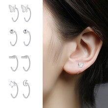 Sliver Colour Butterfly Geometric Asymmetric Hoop Earrings for Women Small Open Huggies Hoops Ear Piercing Earring Jewelry Girls