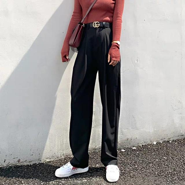 Chic High Waist Loose Straight Pants  6