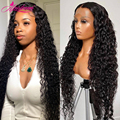 30 32 34 дюймов 13x4 глубокая волна Синтетические волосы на кружеве парики из натуральных волос на кружевной 5x5 HD прозрачный Синтетические волос...