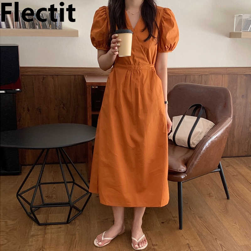 Sleeves chic dress with pockets