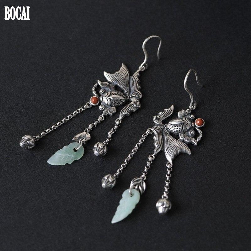 BOCAI nouveau 100% réel S925 pur argent Thai argent perle chaîne gland boucles d'oreilles pour femmes poisson rouge émeraude femme tremella boucles d'oreilles