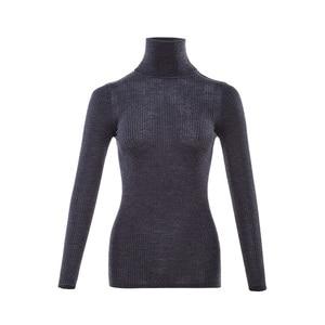 Image 5 - Jersey de lana 100% para mujer, jersey de lana Merino con cuello de tortuga y ribete, suéteres de punto de otoño e invierno 2019
