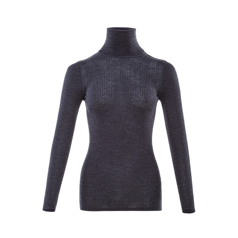 Image 5 - Women Wool Pullover 100%Merino Wool Sweater For Women Turtleneck  Rib Knits 2019 Fall Winter Sweaters Bottoming KnitwearPullovers   -